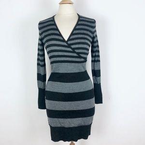 Ann Taylor Loft Black Gray Striped Sweater Dress S
